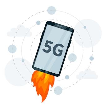 Conexão 5g rápida de foguete no smartphone