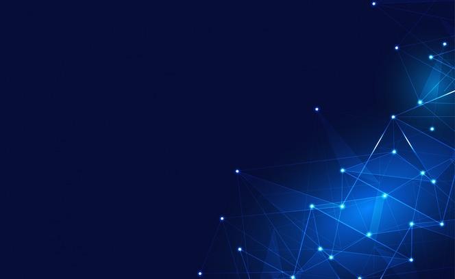Conexão com a Internet ou fundo de conexão de rede. Com baixo poli, ponto, círculo, linha, luz. Pano de fundo da tecnologia digital