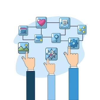 Conexão de aplicativos technologu touchscreen de mão