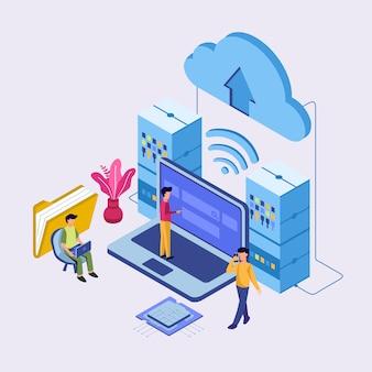 Conexão de centro de dados da internet, administrador do conceito de hospedagem na web.