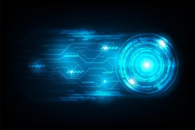 Conexão de círculo abstrato futurista com fundo de circuito de luz de flare