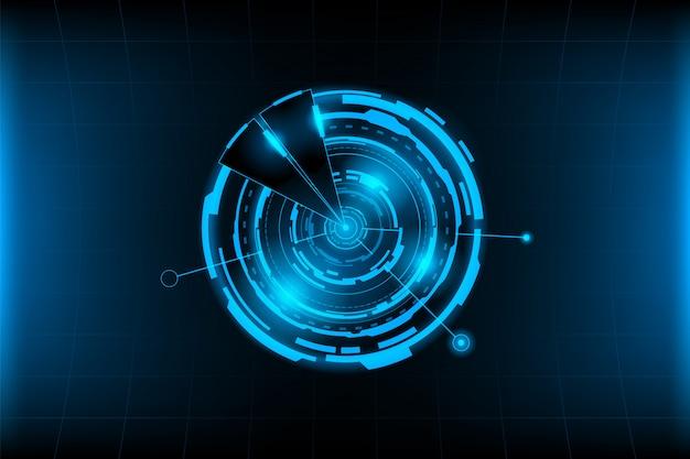 Conexão de círculo abstrato futurista com luz de sinalização no fundo da grade