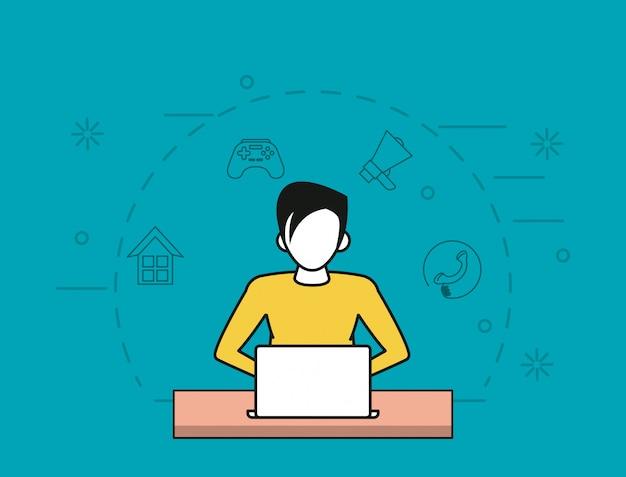 Conexão de computador on-line tecnológico