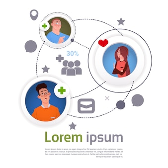 Conexão de comunicação de rede social on-line infográfico de modelo e elementos banner