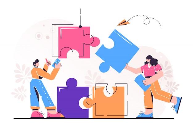 Conexão de elementos de quebra-cabeça