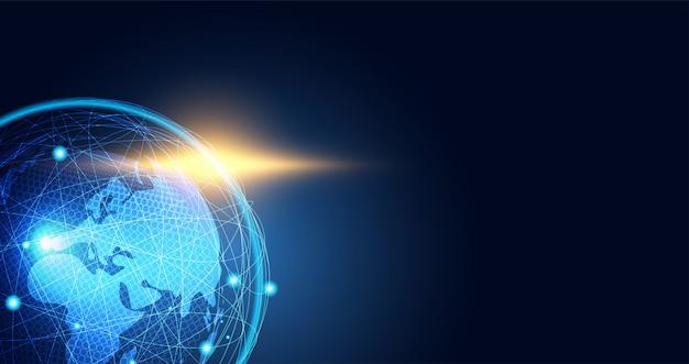 Conexão de mapa do mundo de fundo abstrato rede global