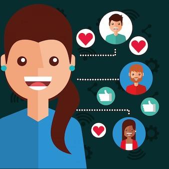 Conexão de pessoas de conteúdo viral de mulher sorridente