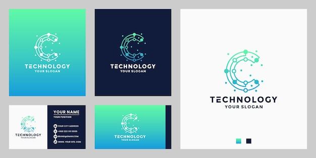 Conexão de ponto de design de logotipo de tecnologia initials c