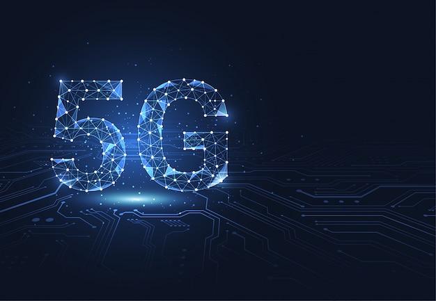 Conexão de rede global 5g. ponto e linha de conexão de polígono