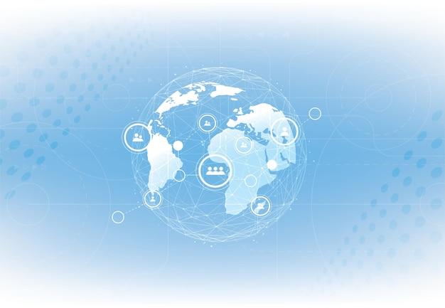 Conexão de rede global. conceito de composição de linha e ponto de mapa mundial de negócios globais