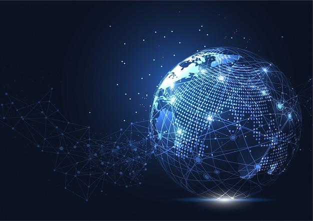 Conexão de rede global de negócios. ponto do mapa do mundo