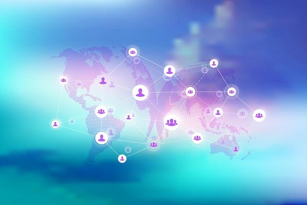 Conexão de rede global. fundo abstrato geométrico com linha conectada e pontos. plano de fundo de rede e conexão para sua apresentação. plano de fundo poligonal gráfico. ilustração vetorial.