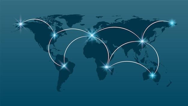 Conexão de rede global, internet e conceito de conexão global