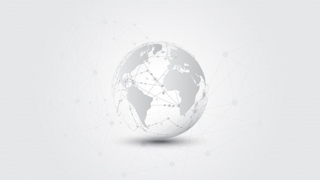 Conexão de rede global mundo mapa abstrato tecnologia banner fundo