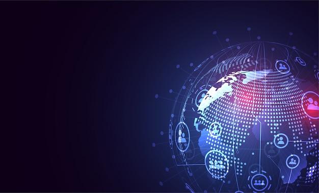 Conexão de rede global. ponto de mapa do mundo e composição de linha