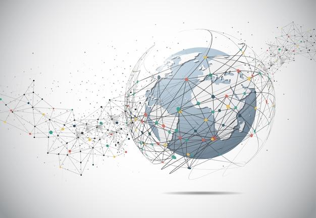 Conexão de rede global. ponto de mapa do mundo e conceito de composição de linha de negócios globais