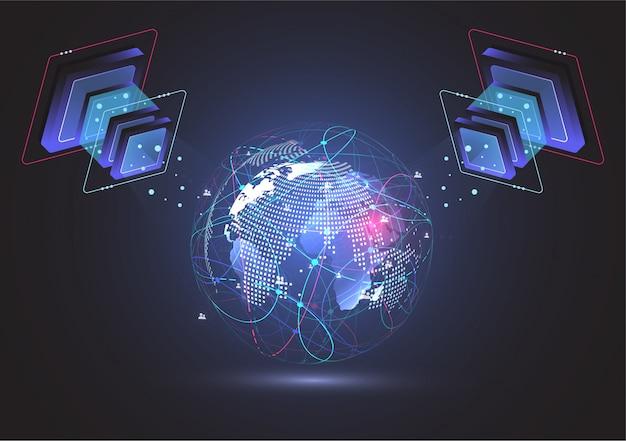 Conexão de rede global. ponto de mapa do mundo e conceito de composição de linha