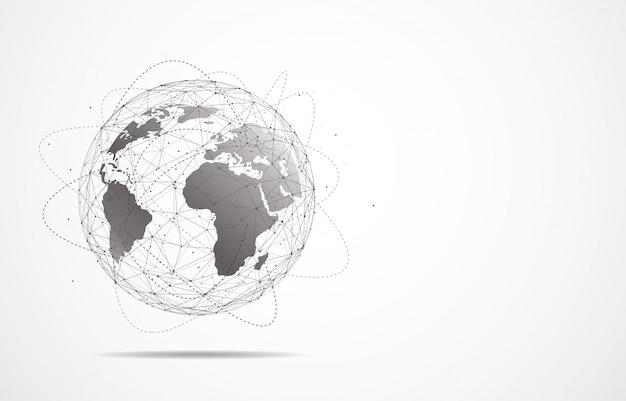 Conexão de rede global. ponto de mapa do mundo e linha