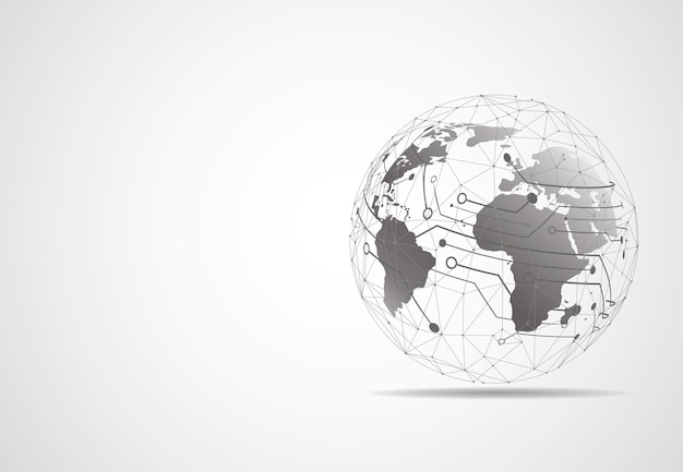 Conexão de rede global. ponto de mapa mundial e conceito de composição de linha de negócios globais. ilustração vetorial