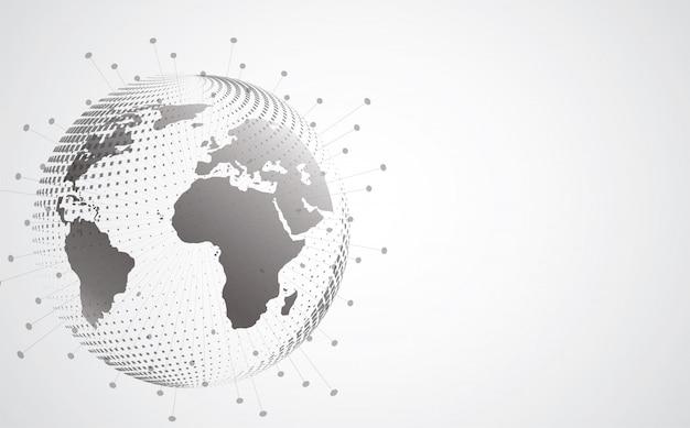 Conexão de rede global. ponto do mapa mundial e composição de linha