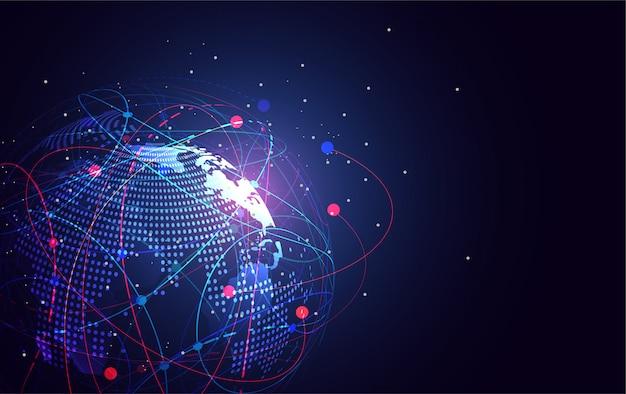 Conexão de rede global. ponto e linha do mapa do mundo