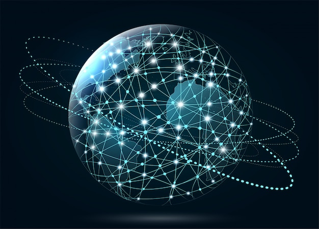 Conexão de rede global. world wide web, conexão de linhas a
