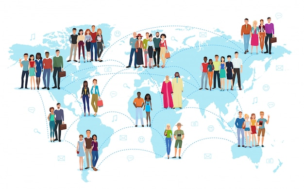 Conexão de rede social de pessoas no mapa do mundo