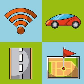 Conexão de wifi de carro autônomo mapa gps bandeira e conjunto de ícones de estrada