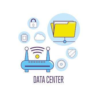 Conexão do centro de dados da tecnologia do roteador do wifi
