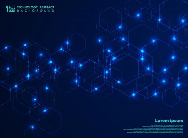Conexão futurista abstrata futurista do teste padrão da forma do hexágono no fundo azul da tecnologia