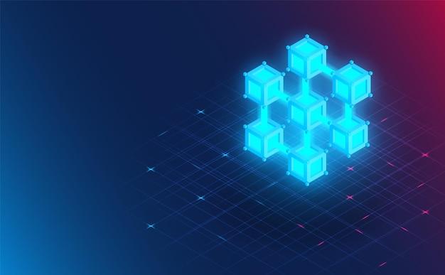 Conexão futurista do blockchain. futuro concept.vector e ilustração