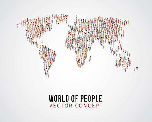 Conexão global de pessoas, população de terra no conceito de vetor de mapa mundo