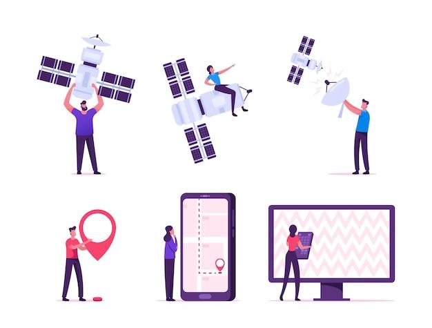 Conexão global sem fio via satélite para o conceito de serviços de gps, celular e tv. ilustração plana dos desenhos animados