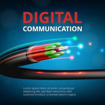 Conexão ótica rápida. fundo de conceito realista de comunicação de internet cibernética de tecnologia do futuro.