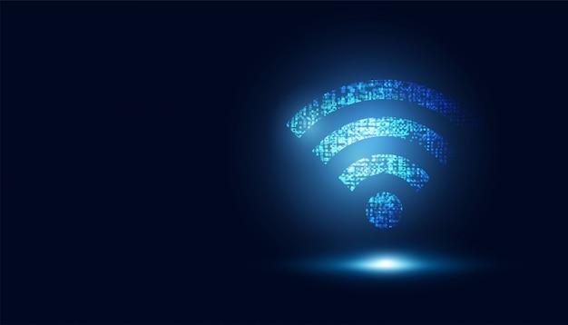 Conexão sem fio azul futurista abstrata de wifi para o fundo de transferência de dados