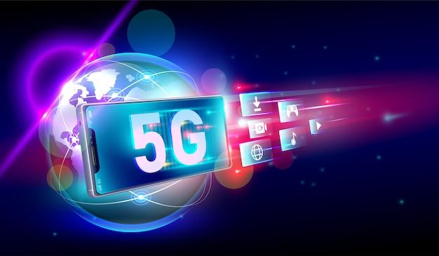 Conexão sem fio de rede 5g de alta velocidade