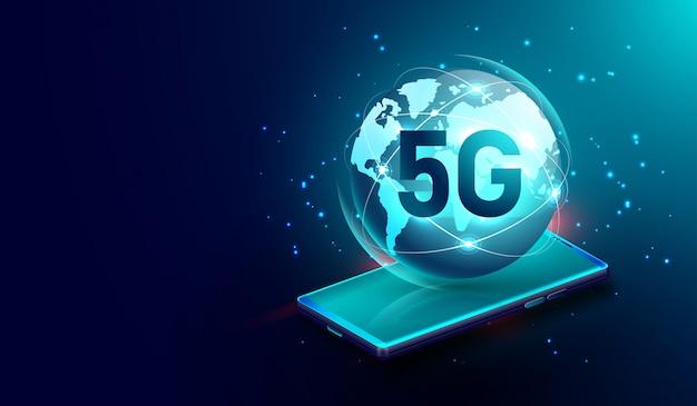 Conexão sem fio de rede 5g no smartphone