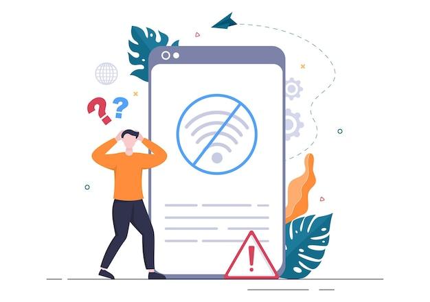 Conexão sem fio perdida ou cabo desconectado, internet sem sinal de wi-fi, página não encontrada na tela do smartphone. ilustração em vetor de fundo
