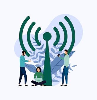 Conexão sem fio pública da zona do ponto quente do wifi livre.