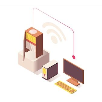 Conexão sem fio wi-fi isométrica