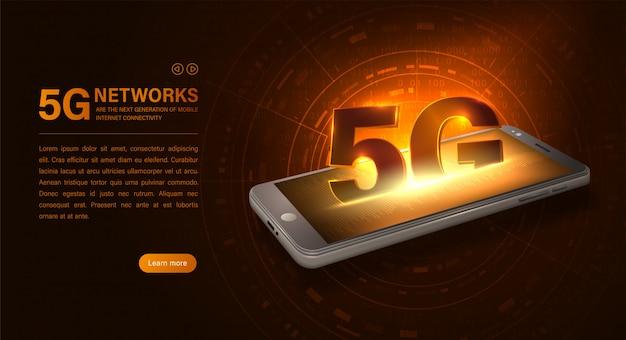 Conexão wi-fi à internet 5g. smartphone e símbolo 5g
