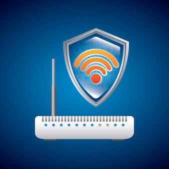 Conexão wi-fi e ícone do roteador