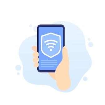 Conexão wi-fi protegida, telefone na mão, vetor
