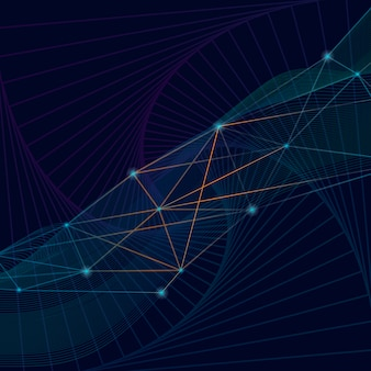 Conexões de fundo azul