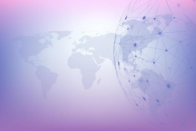 Conexões de rede global com mapa mundial. fundo de conexão com a internet. estrutura de conexão abstrata. fundo do espaço poligonal. ilustração vetorial.