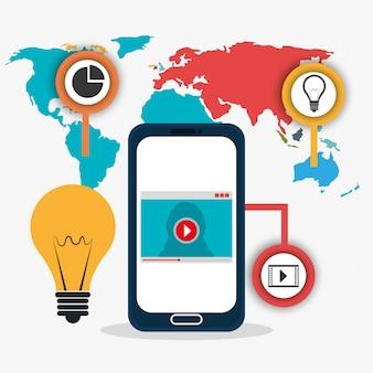 Conexões do mundo e infográfico de negócios