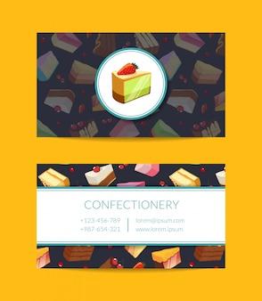 Confectionary, lições cozinhando ou modelo de cartão de negócios da loja de pastelaria