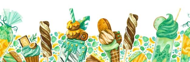 Confeitaria aquarela borda sem costura sorvete pirulitos cupcakes doces