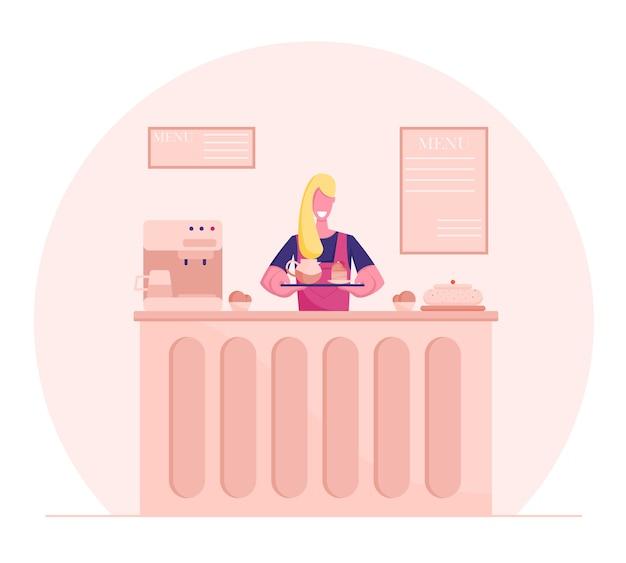 Confeiteira jovem no avental cook segurando a bandeja