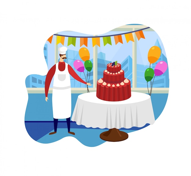Confeiteiro fique perto de mesa com grande bolo saboroso.